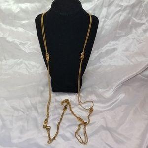 Vintage  Monet Gold Tone Long Necklace